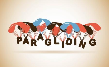 paragliding: Paragliding design over beige background, vector illustration