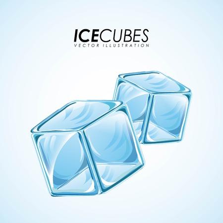 cubetti di ghiaccio: Disegno del ghiaccio su sfondo blu, illustrazione vettoriale Vettoriali