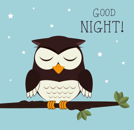 bonsoir: Une bonne conception de nuit sur fond bleu, illustration vectorielle