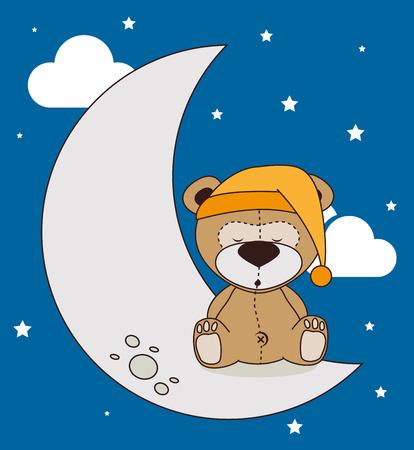buonanotte: Buona progettazione di notte su sfondo blu, illustrazione vettoriale