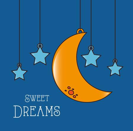 Un buen diseño de la noche sobre fondo azul, ilustración vectorial Foto de archivo - 29112932