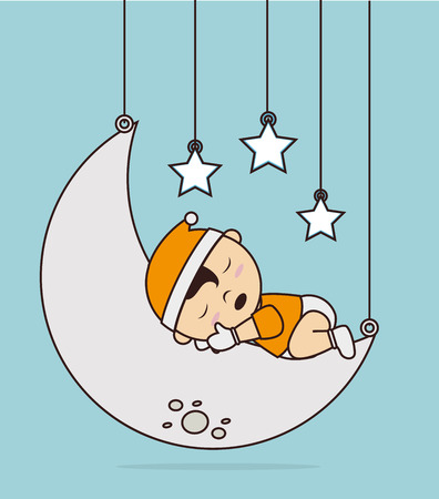 Un buen diseño de la noche sobre fondo azul, ilustración vectorial Foto de archivo - 29112968