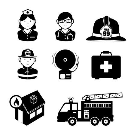Firefighter design over white background, vector illustration