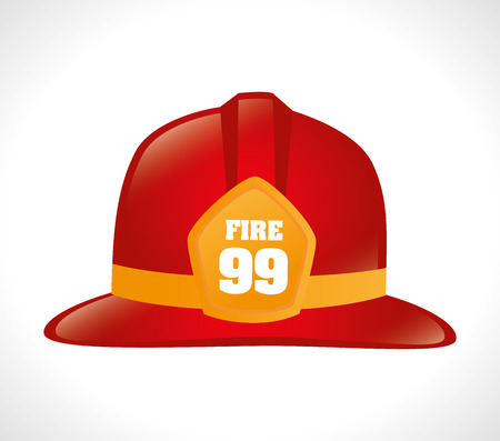 Feuerwehrmann-Design auf weißem Hintergrund, Vektor-Illustration