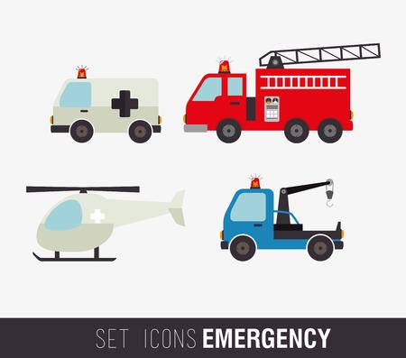 camion de bomberos: Diseño médico sobre el fondo blanco, ilustración vectorial Vectores