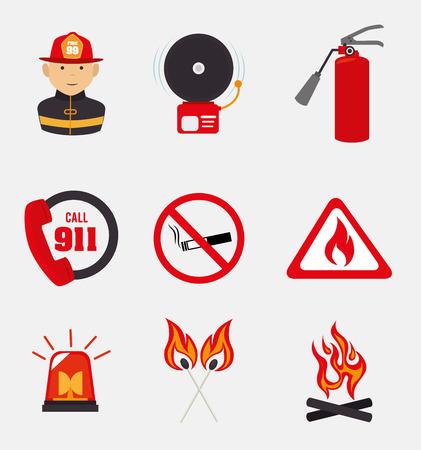 Firefighter design over white background, vector illustration Illustration