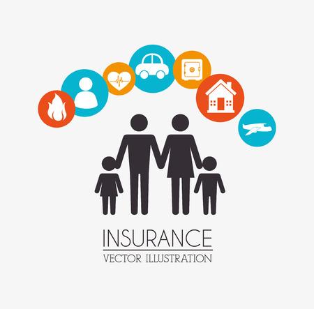 醫療保健: 保險設計了米色背景,矢量插圖