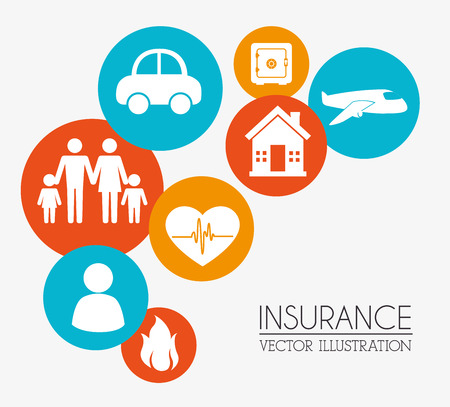 protect concept: Insurances design over beige background Illustration