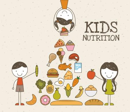 Food design over beige background, vector illustration Ilustração