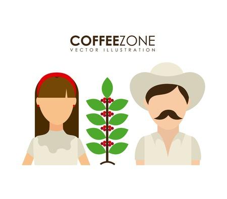 cafe colombiano: Los agricultores de diseño sobre fondo blanco, ilustración vectorial