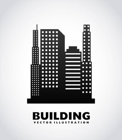 urbanisierung: Stadtgestaltung �ber grauem Hintergrund, Vektor-Illustration