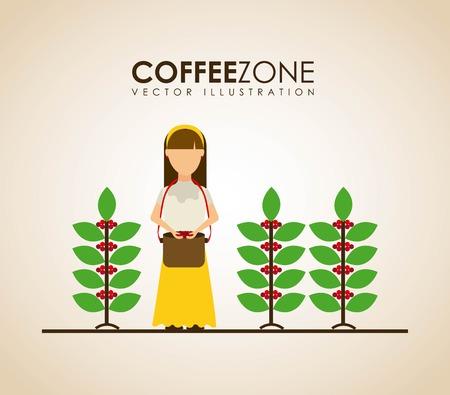 farmers: Coffee design over beige background, vector illustration