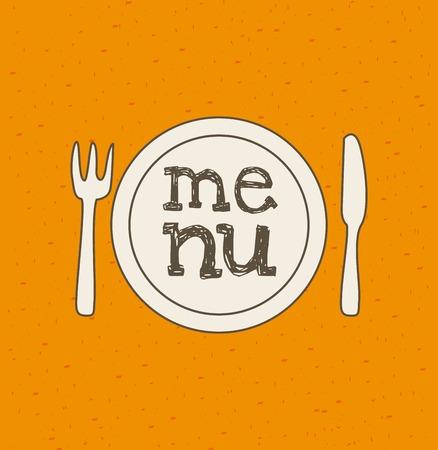 ailment: Dise�o de la Alimentaci�n sobre fondo naranja, ilustraci�n vectorial