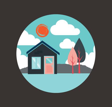hometown: House design over gray background, vector illustration