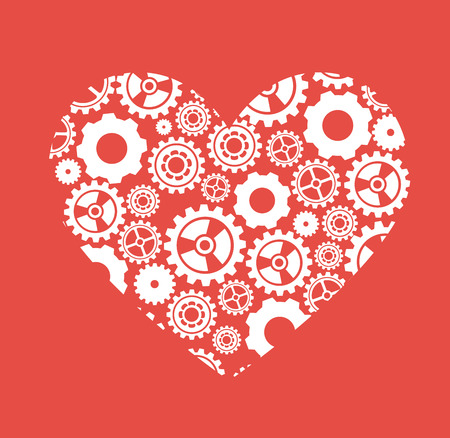 gearshift: Gears design over red background, vector illustration
