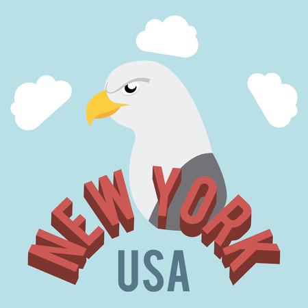 urbanization: NYC design over cloudscape background, vector illustration