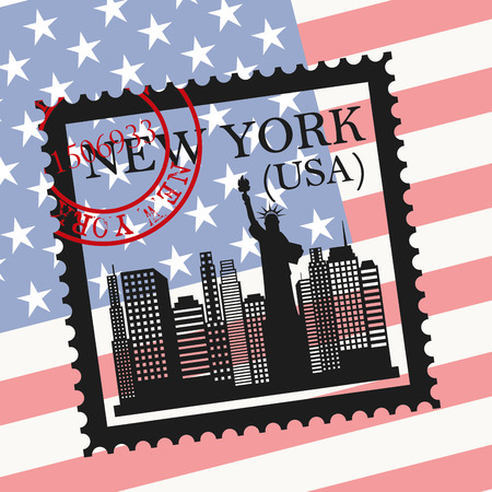 NYC design over usa flag background, vector illustration Vector