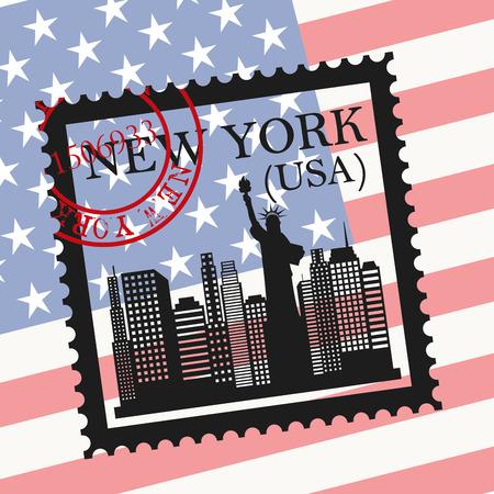 NYC design over usa flag background, vector illustration Illustration