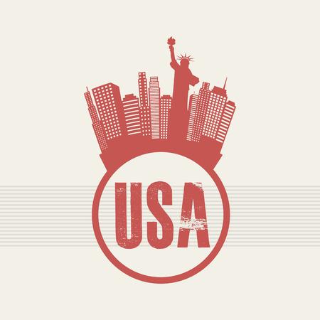 urbanization: NYC design over beige background, vector illustration
