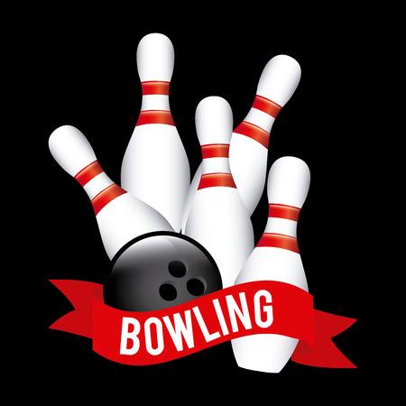 Bowling design over black background, vector illustration 向量圖像