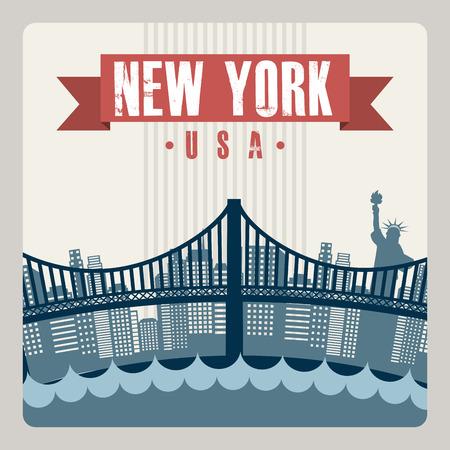 urbanization: NYC design over gray background, vector illustration Illustration
