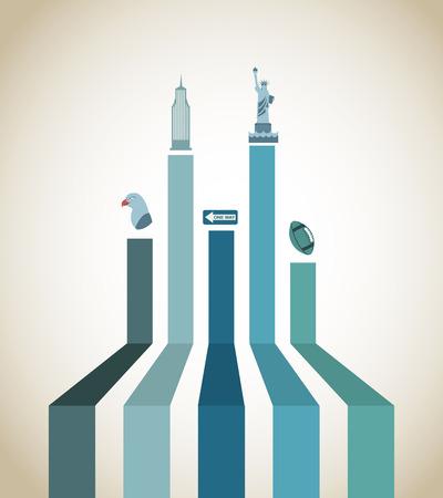 NYC design over beige background, vector illustration