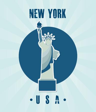 urbanisierung: NYC-Design auf blauem Hintergrund, Vektor-Illustration Illustration