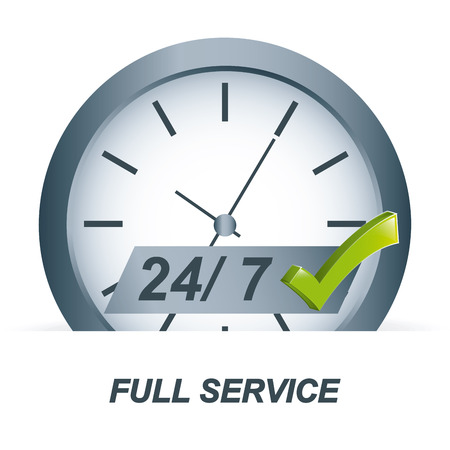 seconds: full service over white background vector illustration
