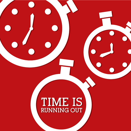 time over: time design over red background vector illustration