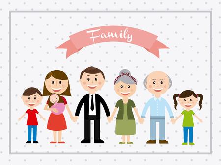 familia unida: dise�o de la familia en el fondo de puntos ilustraci�n vectorial