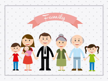 old family: family design over dotted  background vector illustration