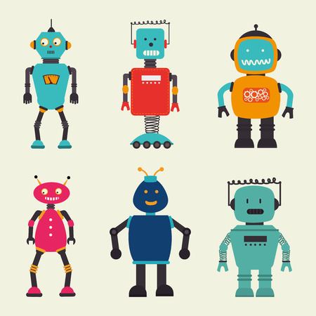 space robot: Robot design over beige background, vector illustration