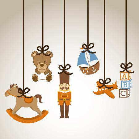 toy ontwerpproces over grijze achtergrond vector illustratie