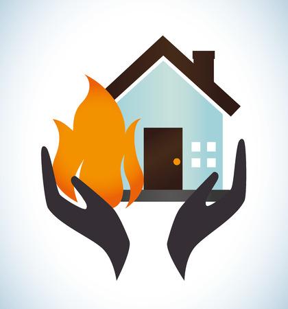 incendio casa: Dise�o de Seguros sobre fondo blanco, ilustraci�n vectorial
