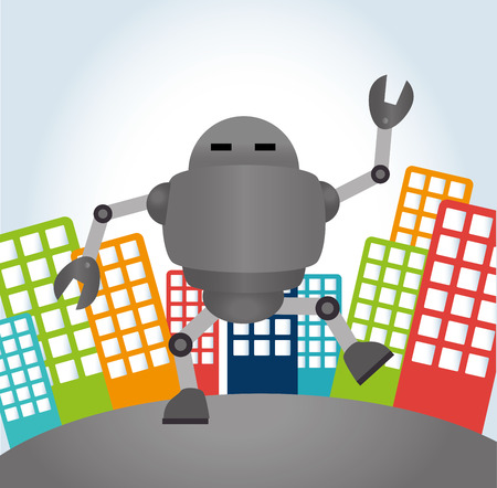 Robot design over cityscape background, vector illustration Vector