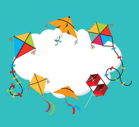 青い背景に凧のデザイン、ベクトル イラスト