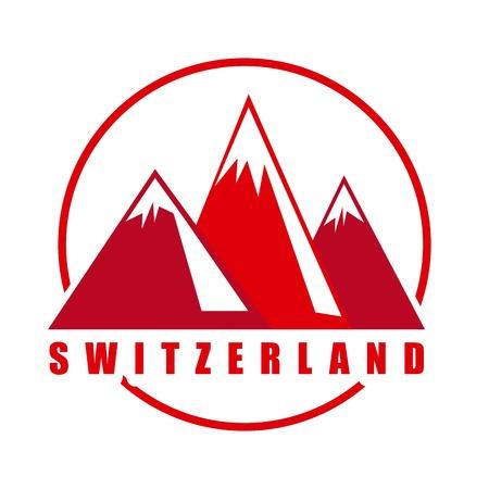 alpes suizos: Dise�o suizo sobre fondo blanco Ilustraci�n