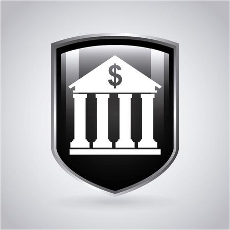 bank building: Money design over gray background, illustration Illustration