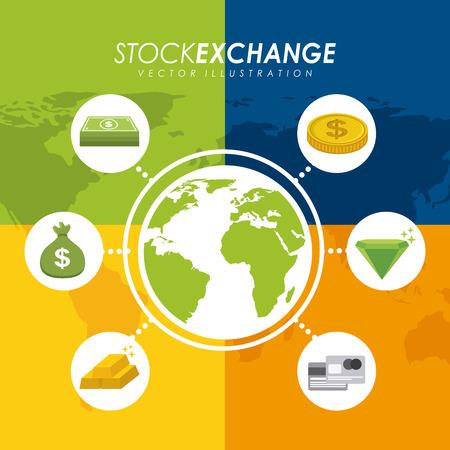 Money design over colorful background, illustration Vector
