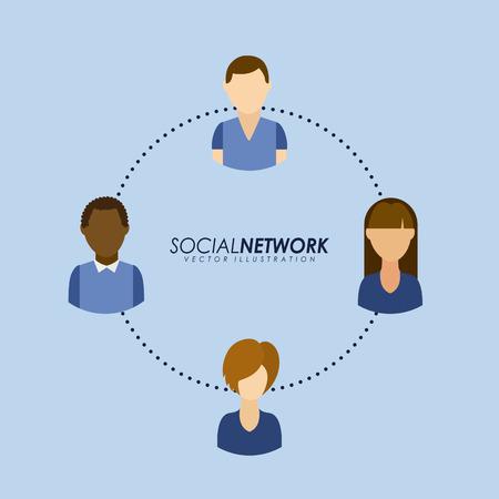 socializando: Dise�o de la red social m�s de fondo azul, ilustraci�n