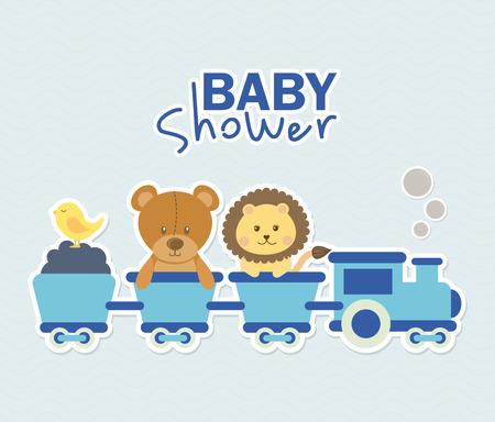leon: baby design over blue background illustration