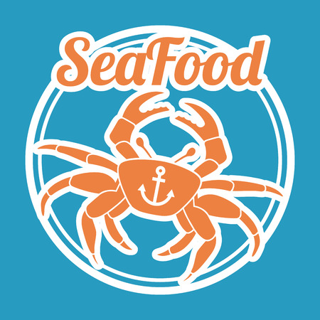 crab legs: sea food over blue background illustration