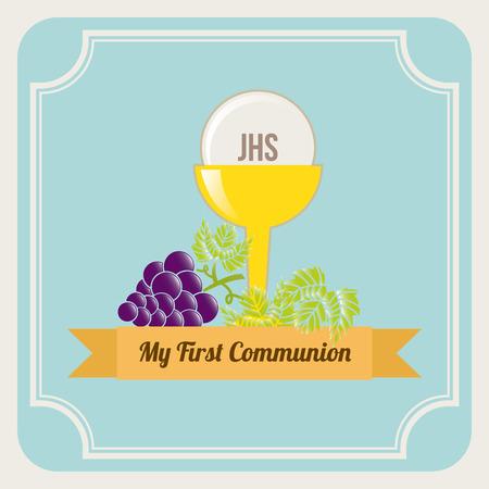 primera comunion: primera comunión sobre fondo azul ilustración