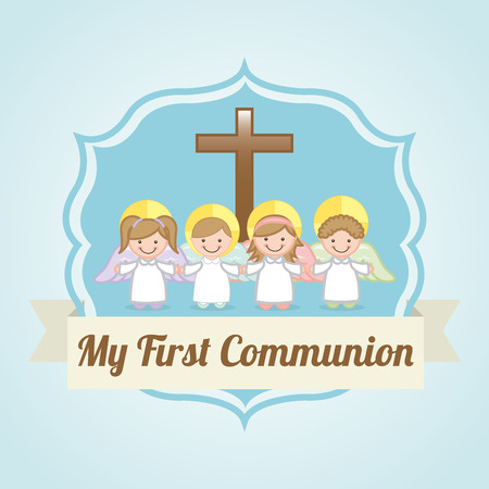 confession: first communion over blue background illustration