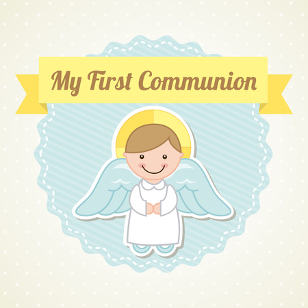 confession: first communion over white background illustration