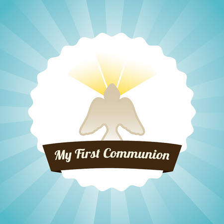 first communion over blue background illustration Vector