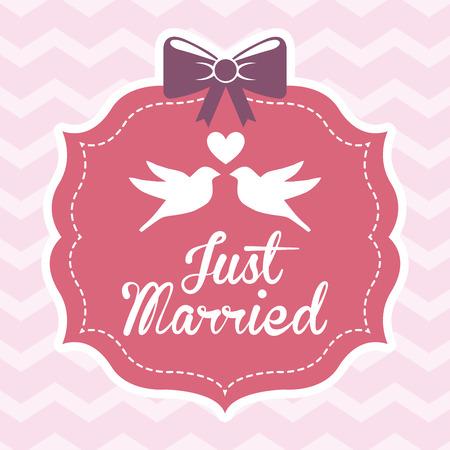 married: love design over waves background illustration Illustration