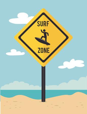Surf design over beach scape background, illustration Vector