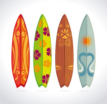 Diseño Surf sobre fondo blanco, ilustración