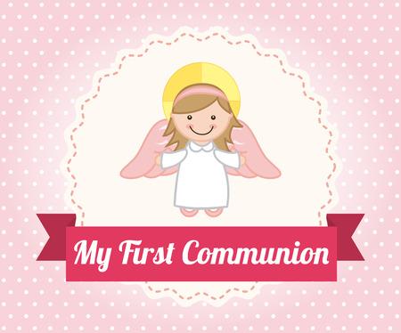divine: eerste communie op gestippelde achtergrond illustratie Stock Illustratie